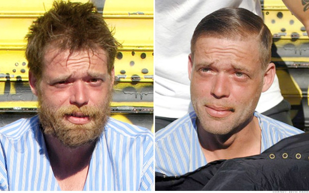 homeless haircuts striped