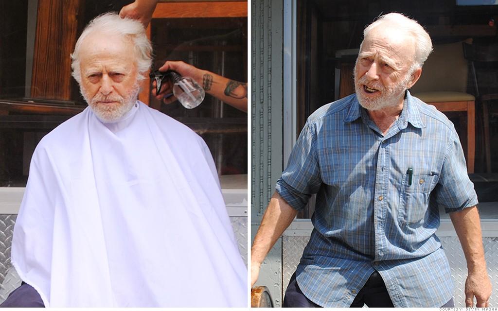 homeless haircuts red