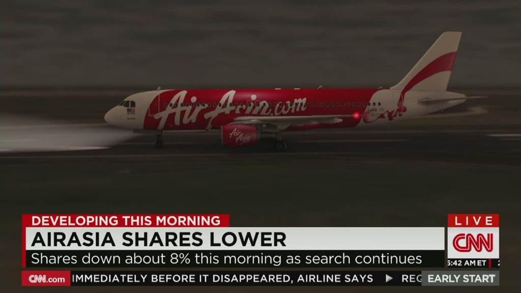 AirAsia shares lower on missing jet