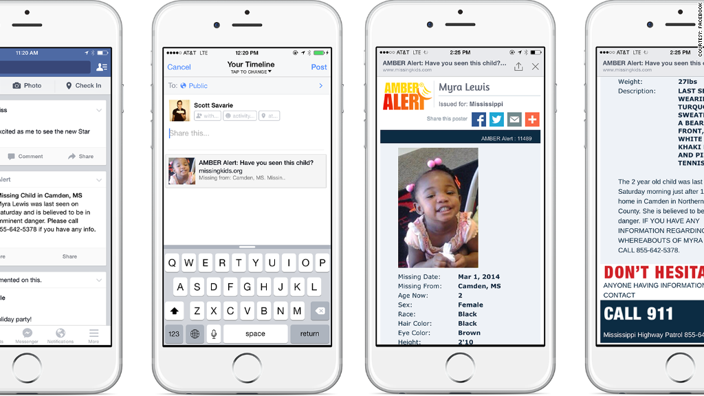 facebook amber alert