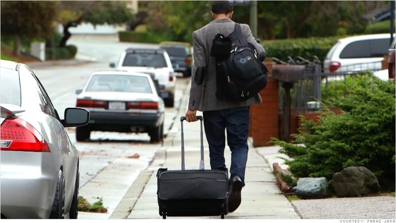 homeless poker player luggage