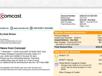 Comcast Changes Customer Name To A Hole On Bill