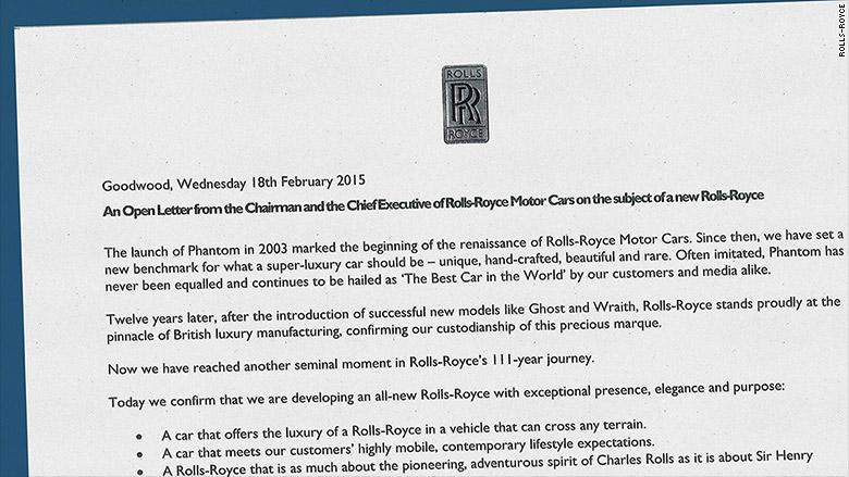 rolls royce letter