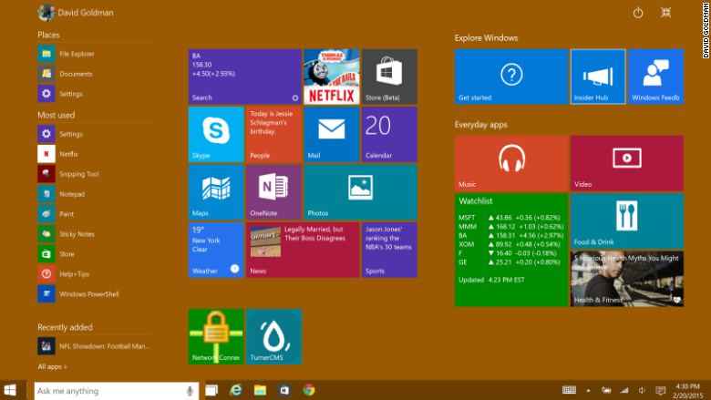 windows 10 start menu large