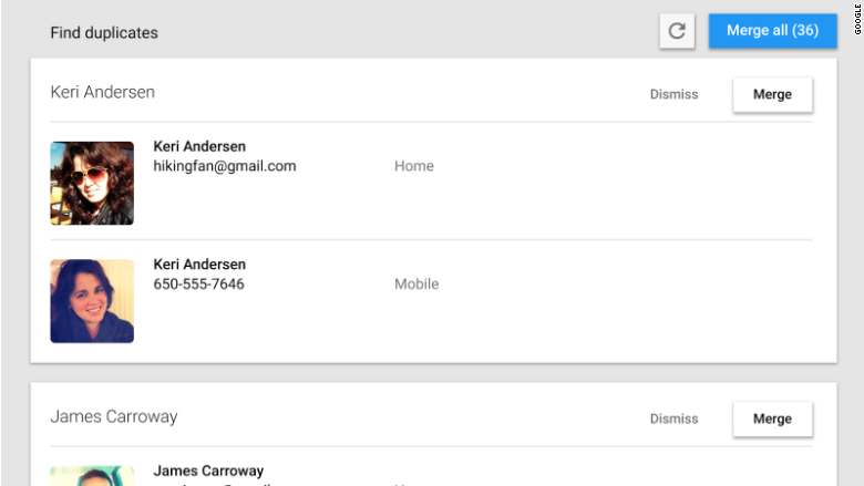 google contacts preview duplicates