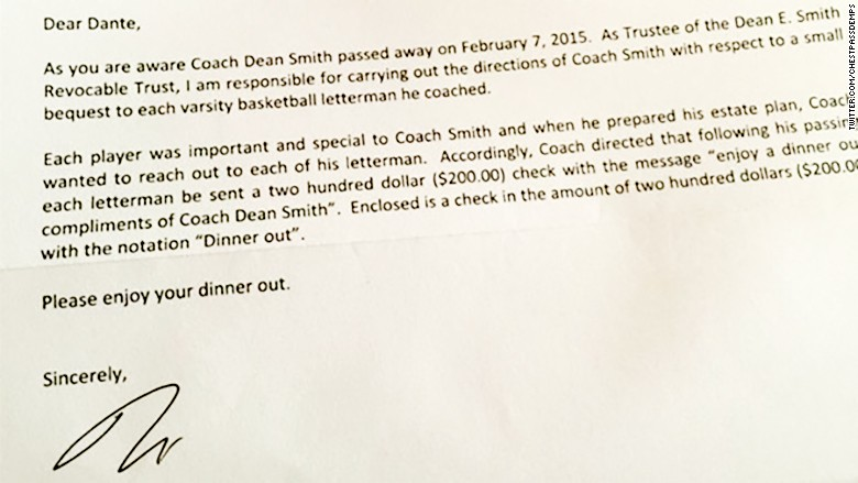 Dean smiths will gives 200 to each of his former players unc dean smith letter expocarfo Choice Image