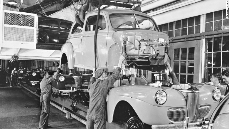 Ford assembly line body installation 1941