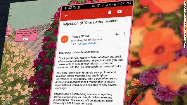 17-year old rejects Duke's rejection letter