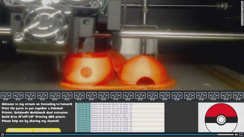 livecoding pokeball 3d printing