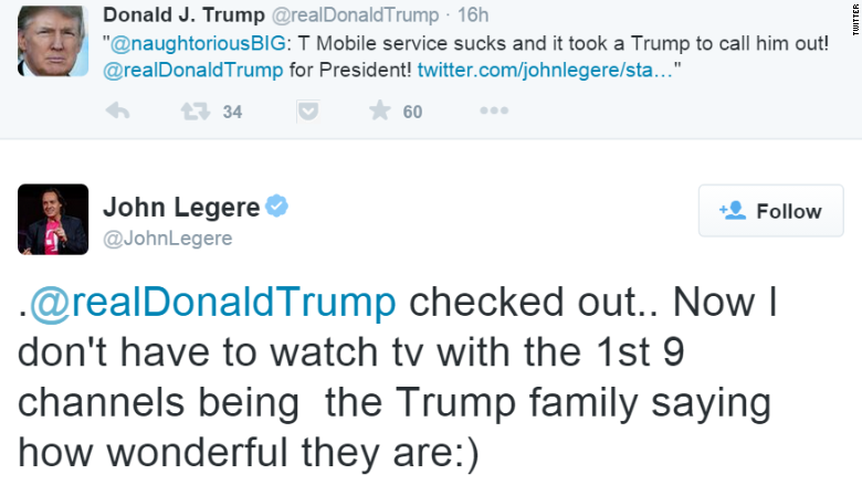 Donald Trump: I don't want T-Mobile in my hotels