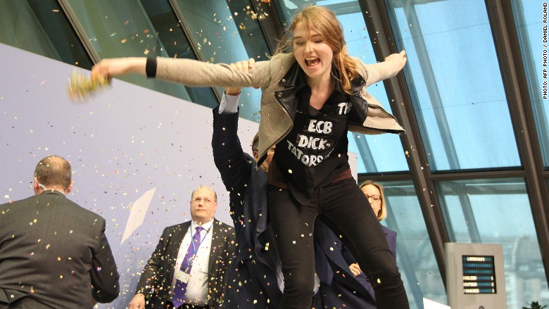 ECB protestor attack