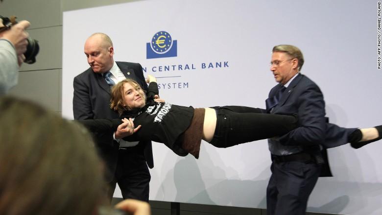 ECB protest attack 3