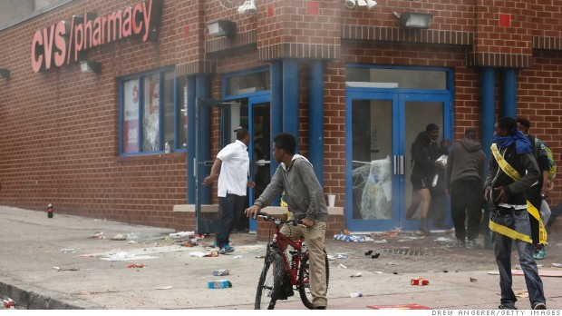 Thumbnail for CVS got employees out of Baltimore store just before looting and fire