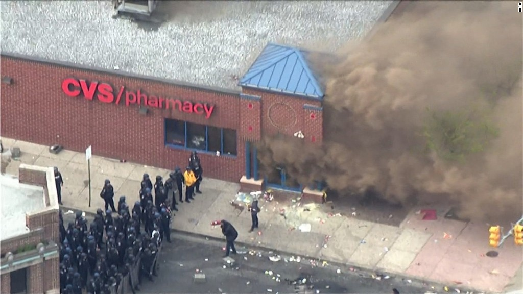 Chaos and violence on the streets of Baltimore