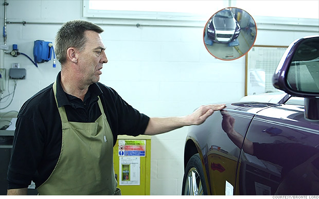 His only job - Painting the pin-stripes on Rolls Royces
