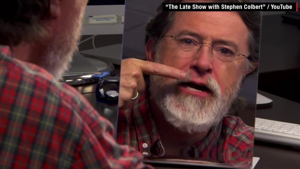 Stephen Colbert shaves his beard
