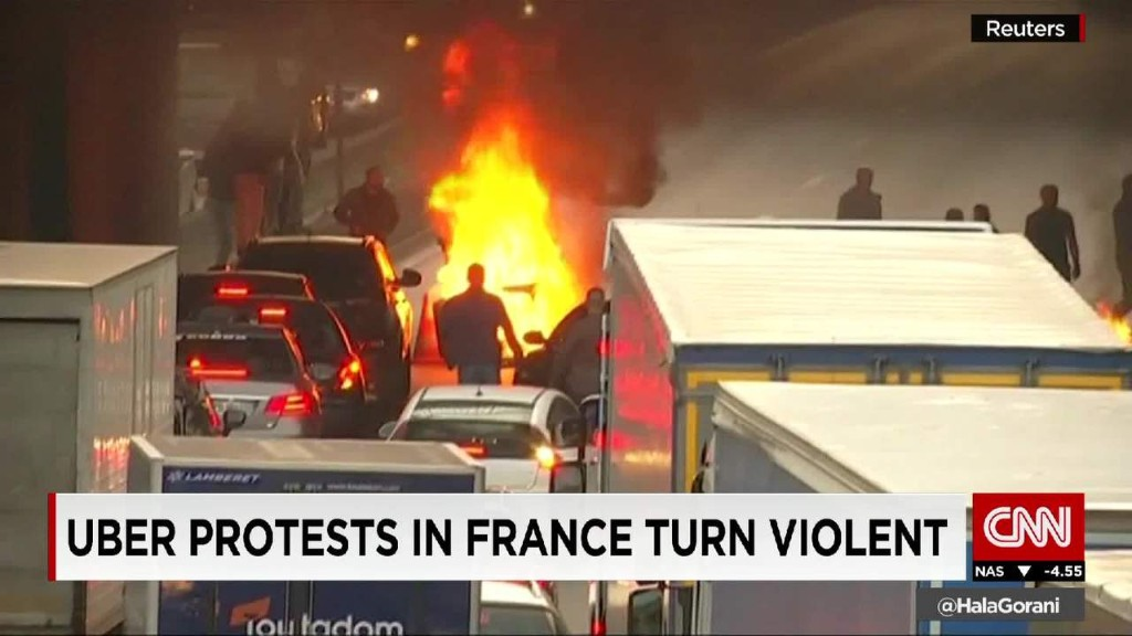 Uber protests in France turn violent