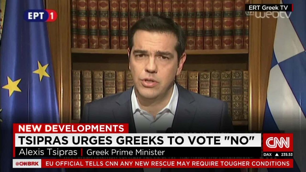 Greek leader urges 'no' vote on bailout