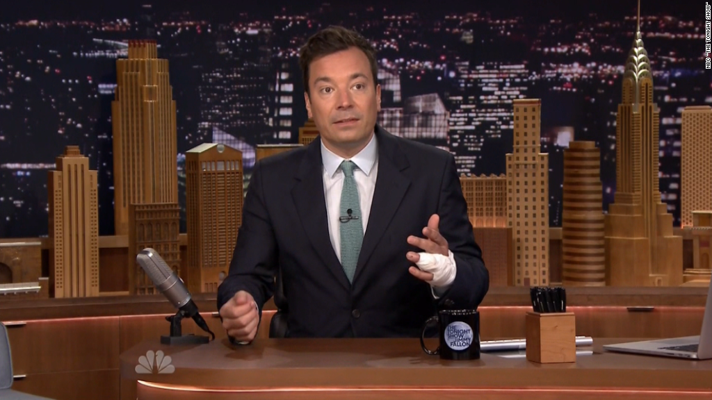 Jimmy Fallon's gruesome recap of finger accident