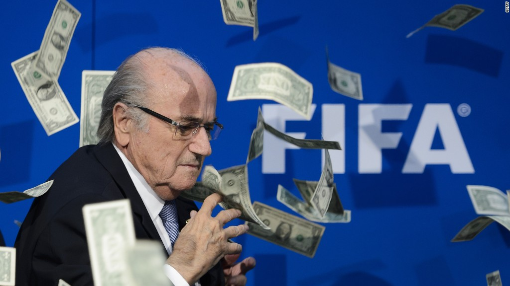 FIFA's Sepp Blatter showered with money, literally