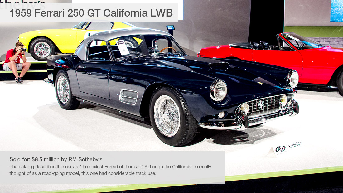 1959 ferrari 250 gt california lwb 10 most expensive cars sold at pebble beach auctions cnnmoney. Black Bedroom Furniture Sets. Home Design Ideas