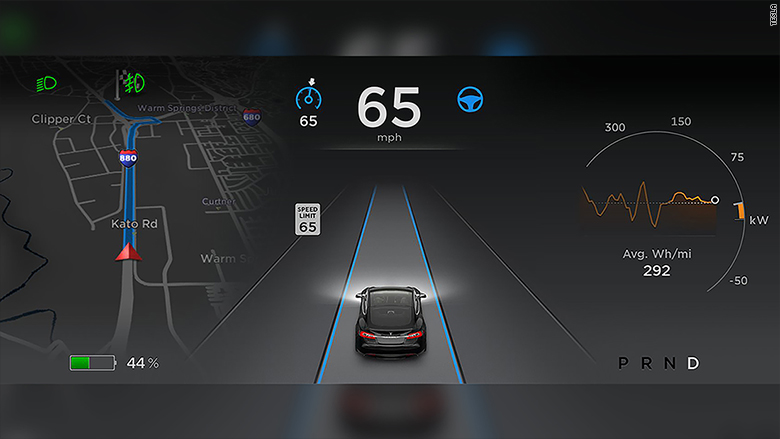 tesla autopilot display