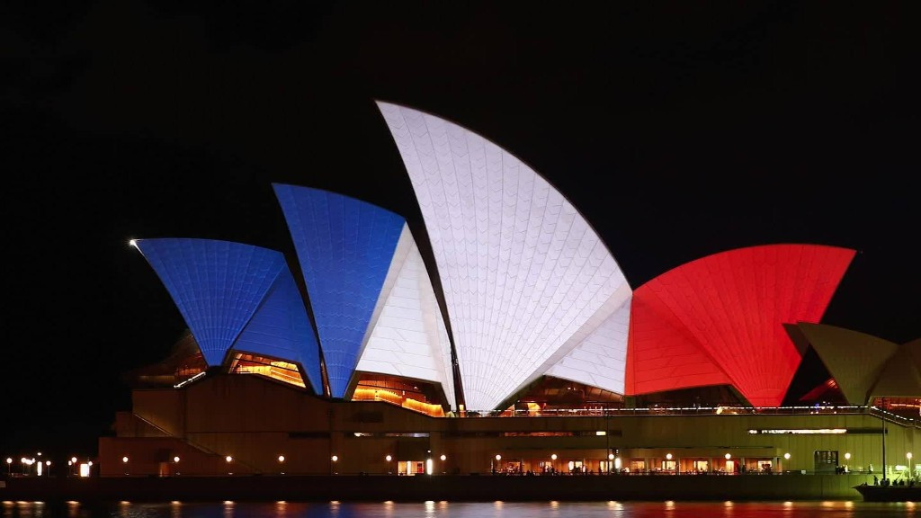 Landmarks turn blue, white and red in support for Paris
