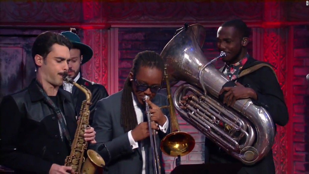 Colbert's band pays tribute to Paris