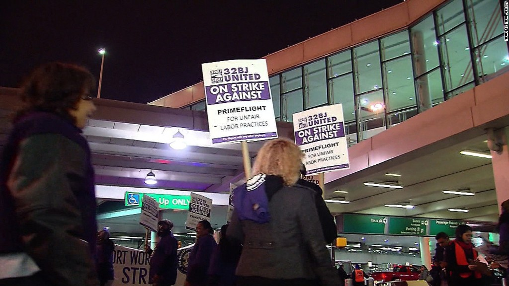 Airport workers strike for higher wages