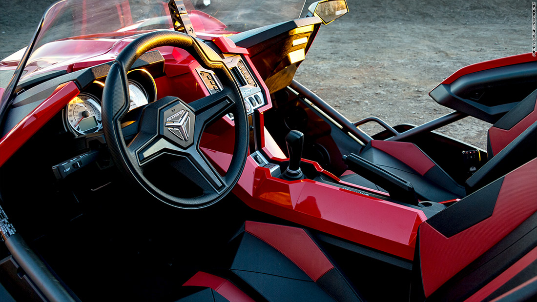 polaris slingshot lean slingshot is a three wheeled thrill ride cnnmoney. Black Bedroom Furniture Sets. Home Design Ideas
