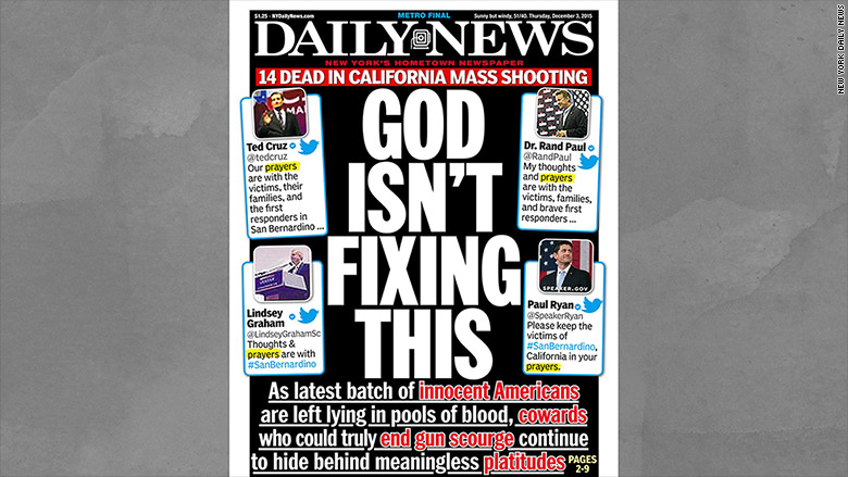 Ny Daily News Cover On San Bernardino Shooting God Isn T