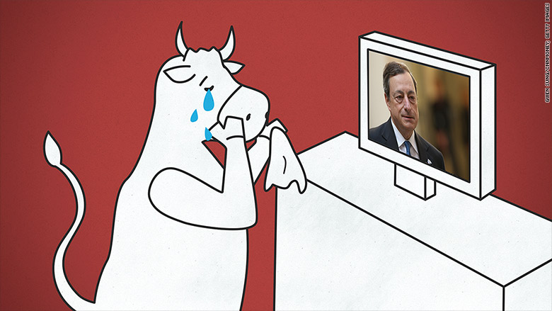 bull crying mario draghi