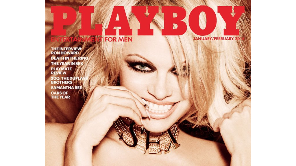 Pamela Anderson on the cover of the last nude Playboy