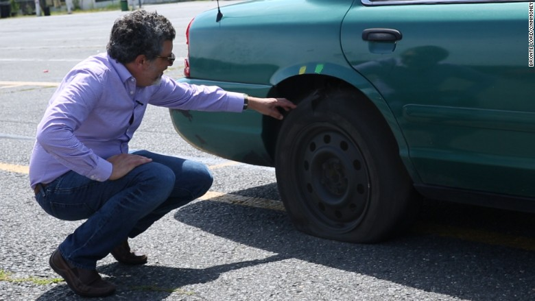 stunt driving peter with tire