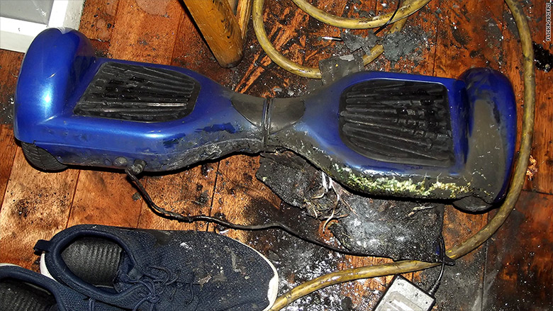 fire damaged hoverboard