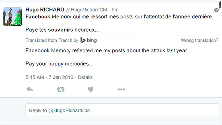 charlie hebdo facebook memories tweet 2