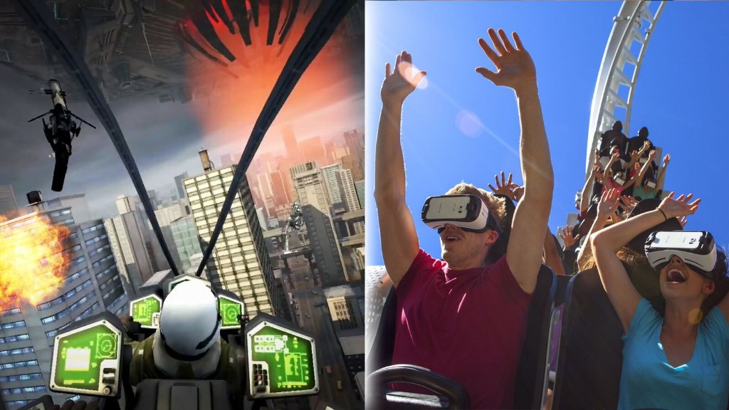A roller coaster ride with a virtual reality view