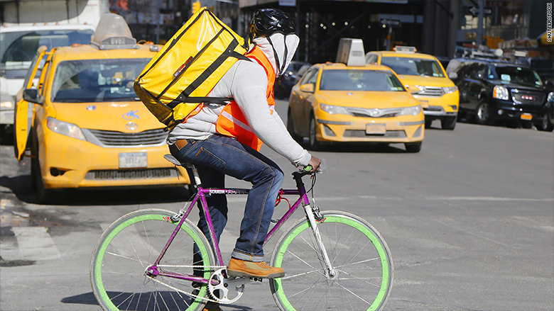nyc food delivery man
