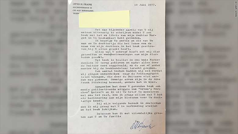 anne frank letter