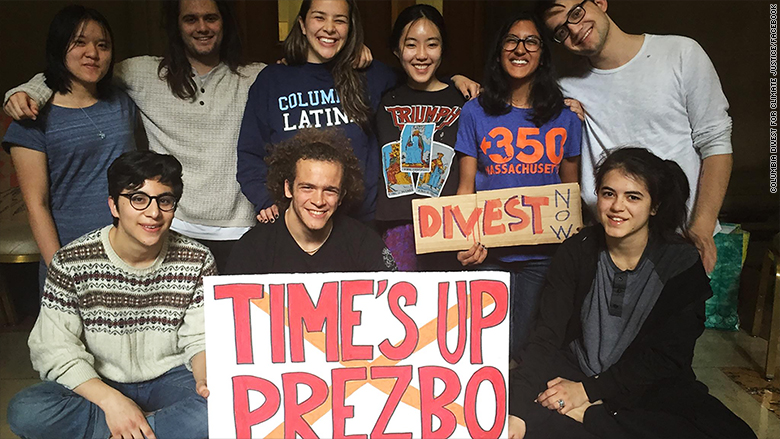columbia university students fossil fuel protest facebook