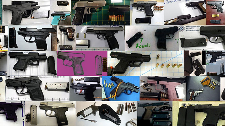 TSA 73 firearms discovered collage