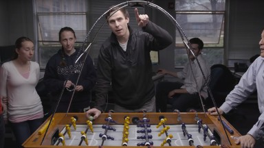 Humans. vs. robots: Who wins at foosball?
