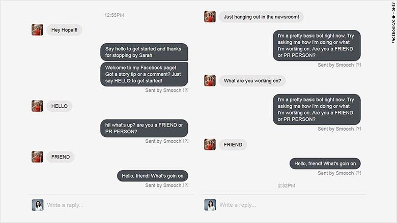 facebook messenger bot sarah conversation