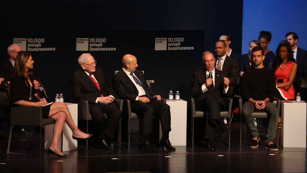 Buffett, Blankfein, Bloomberg and Dorsey on one stage