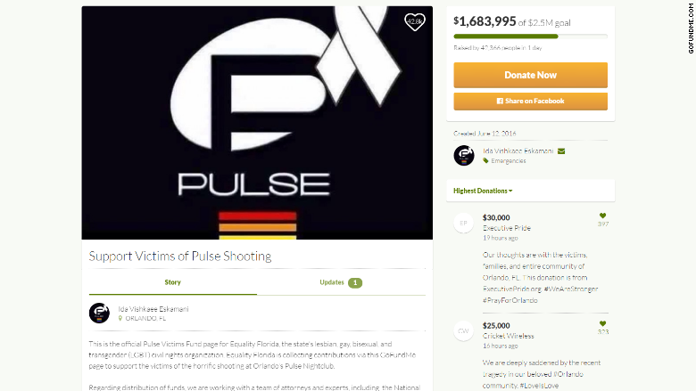 gofundme campaign for orlando shooting victims hits 2 4 million