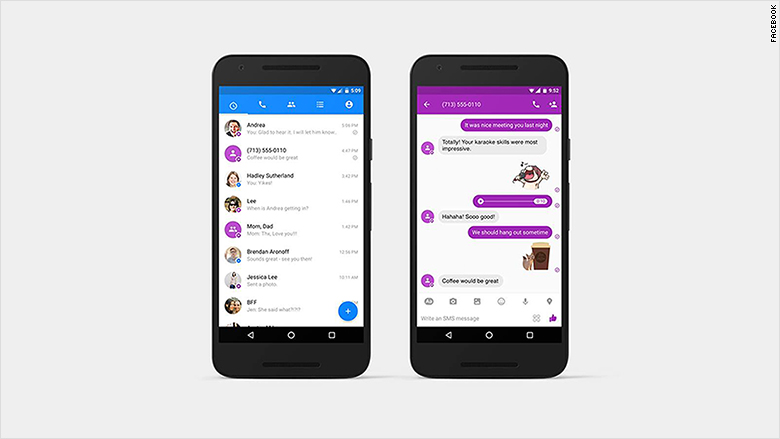 facebook messenger sms purple