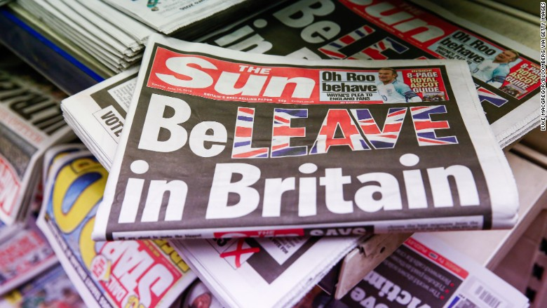 the sun brexit beleave newspaper