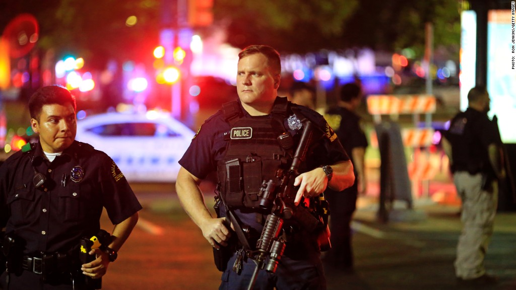Chaos in Dallas as 12 officers are shot