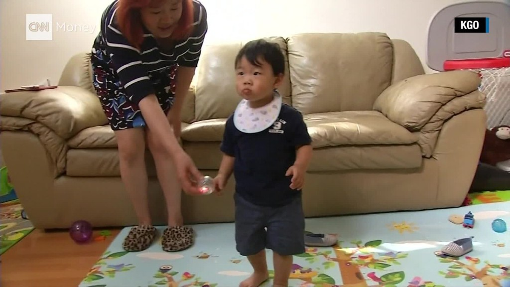 A security robot tackles toddler