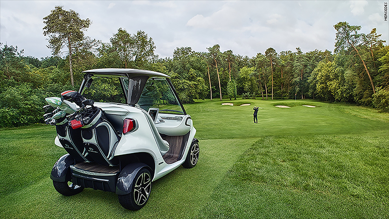 mercedes golf cart on green